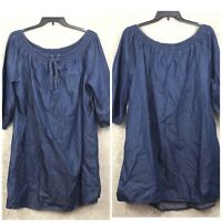 Boutique + 3X NWT Womens Blue Chambray Peasant Quarter Sleeve Dress