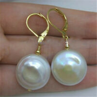 14-15MM HUGE BAROQUE White PEARL Earrings 18K hook Freshwater gorgeous hang Fine