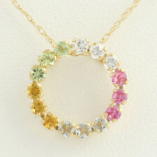"NEW Gemstone & CZ Eternity Circle Pendant 18"" Necklace - 10k Yellow Gold 0.63ctw"