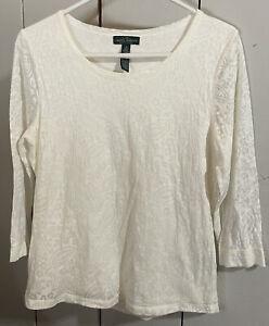 LRL Ralph Lauren Jeans Co. Women's Top Shirt Ivory 3/4 Sleeve Cotton Medium