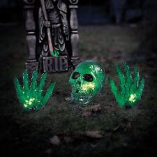 Halloween Decor Outdoor Yard Decoration Prop Graveyard Lights Spooky Skull Hand