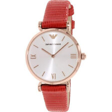 Emporio Armani Women's Watch Red Leather Rose Gold AR1876