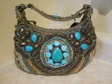 Mary Frances MANTRA beaded hobo handbag, intricately beaded, earth tones, NWT