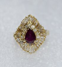 14K Solid Yellow Gold Vintage Inspired Pear Ruby & Diamond Cocktail Ring 5.5