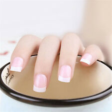 24Pcs Natural French Short Full False Nails Fake Nails With Glue Acrylic Classic