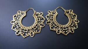 LARGE GOLD PLATED VINTAGE AFGHANI BRASS HOOPS EARRINGS TRIBAL MANDALA EARRINGS