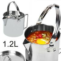 1.2L Stainless Steel Outdoor Picnic Camping Cooking Kettle Hanging Pot & Lid