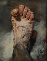 The foot of the artist by Adolph Menzel. Wall Art Repro choose Canvas or Paper
