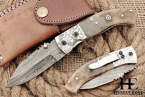 HUNTEX Custom Handmade Damascus 110mm Long Ram Horn Hunting Folding Pocket Knife
