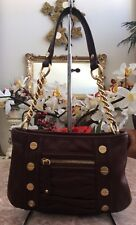 B. MAKOWSKY Studded Pebble Brown Leather Gold Chain Shoulder Bag Purse EUC!