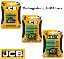 JCB Rechargeable Batteries AA AAA NiMH Pre Charged 900 1200 2400mAh Long Life