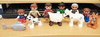 11 LEGO DUPLO FIGURES NICE CONDITION HORSE CAT KIDS ZOO DOG GRANDAD SHEEP FISH