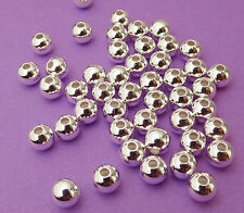 5mm silver plated steel Round Seamless Spacer Beads 50pcs