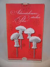 Hutschenreuther Märchenwald Stecker 4 Pilze weiß Adventskranz Advent Weihnachten