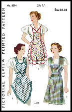 RARE Fabric Sewing PATTERN Pictorial Review # 8514 BIB APRON Vintage 30's Medium