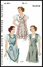 RARE Fabric Sewing PATTERN Pictorial Review # 8514 BIB APRON Vintage 40's Medium