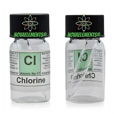 Chlorine gas element 17 sample 30% mix with Helium ampoule and labeled vial