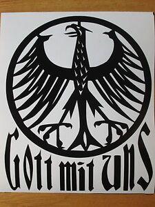 """4""""x5"""" German Eagle GOTT MIT UNS vinyl Decal Bundesadler Sticker Porsche VW BMW"""