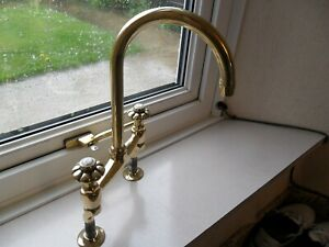 SOLID BRASS KITCHEN MIXER TAP ORIGINAL OLD VINTAGE RECLAIMED