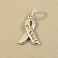 .925 Sterling Silver BREAST CANCER RIBBON CHARM Pendant Survivor NEW 925 WK26