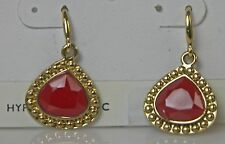 Gold-tone & Red Faux Stone Dangle EARRINGS Wire Hooks New on Card 1-1/8 inches