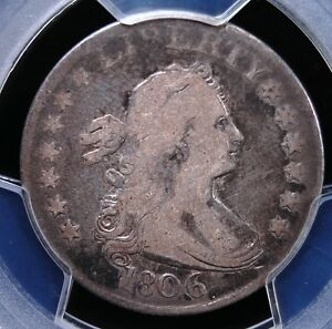 1806 DRAPED BUST QUARTER PCGS VG8 NICELY DETAILED