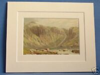 LLYN IDWAL NORTH WALES SUPERB QUALITY 1879 ANTIQUE DOUBLE MOUNTED PRINT WARD