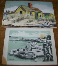 LOT EDYTHE LAWS WATERCOLOR PAINTING BRUNSWICK MAINE BEACH ANDREW WYETH PROTEGE