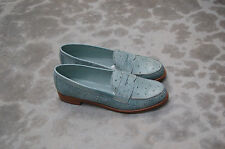 WOMAN - 38 - PENNY LOAFER - GENUINE LIGHT BLUE OSTRICH - LEATHER SOLE