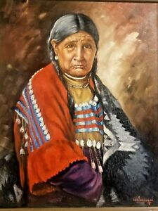 HUGE NATIVE AMERICAN PLAINS WOMAN PORTRAIT BY NEW MEXICO ARTIST LEO J MILHOAN 71