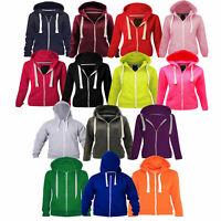Girls Boys Unisex Plain Zip Up Fleece Hoodie Sweatshirt Jacket Top