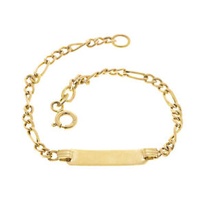 Pre Owned 9ct Childs ID Bracelet / Figaro Chain