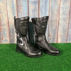 BLYTZ Women's Black  Leather Motorcycle Boots Size UK 6 / EUR 40