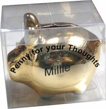 NAME MILLIE PENNY FOR YOUR THOUGHTS NOVELTY TINY PIGGY BANK