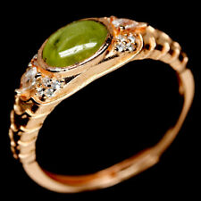 NATURAL 5 X 7mm. YELLOW SPHENE & WHITE CZ STERLING 925 SILVER RING SZ 8.5