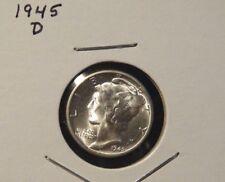 1945-D MERCURY DIME / DENVER MINT BU 90% SILVER COIN