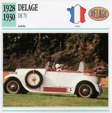 1928-1930 DELAGE DR 70 Classic Car Photograph / Information Maxi Card