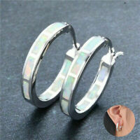 Wedding Jewelry Exquisite 925 Silver Circle White Fire Opal Hoop Earrings Women
