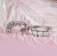 14K White Gold Over 1.50 Ct Round Cut D/VVS1 Diamond Huggie Hoop Earrings