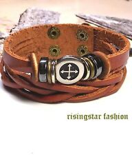 Men's Cross New Age Hip Hop Biker Surfer Fashion Leather Bracelet Wristband