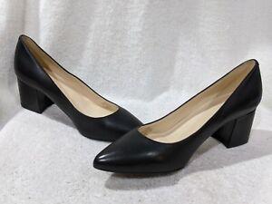 Nine West Women's ISSA Black Leather Block Heels - Size 6.5/7/7.5/8/8.5/9 NWB