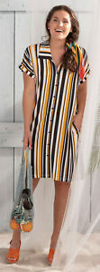 Pastunette Ladies Luxury Beach Button Front Shirt Dress Black & Yellow Stripe