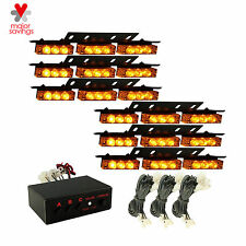 Yellow/ Amber Car Emergency Warning Strobe Lights 54 LED 6 Bars Deck Dash Grille