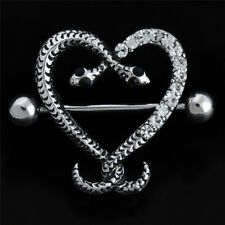 6 Pair Heart Silver Crystal Rhinestone Ear Stud Earrings Fashion Women Jewelry O