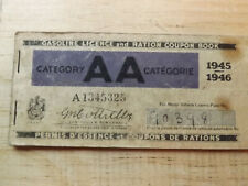 CANADA 1945 GASOLINE RATION COUPON BOOKLET