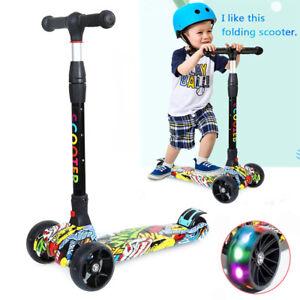 Kids Child Kick Push Scooter Flashing LED Light Up 4 Wheel Adjustable Folding UK