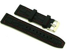22mm Black Rubber and Leather Red Stitching Watch Strap With 2 Spring Bar