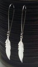 Silver Feather Earrings Large Long Drop Dangle Hook Statement (70mm drop)
