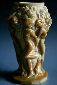 ART DECO BOHEMIAN MALACHITE GLASS VASE WITH FIGURES OF NUDE LADIES - H.HOFFMANN