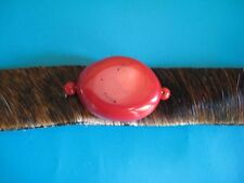 Red Coral & Leather Bracelet by Paige Wallace